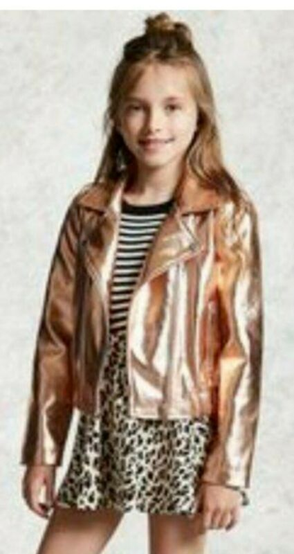 Forever 21 Girls Rose Gold Metallic Moto Jacket SIZE M, faux leather