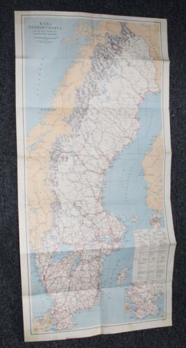 Vtg 1960 Map SWEDEN Road Map ROYAL AUTOMOBILE CLUB