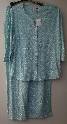 Karen Neuburger L Green White Blue 3/4 Sleeve Long Pant 2 Pc Pajama's Set
