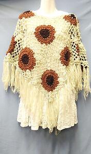 Handmade Batwing  Crochet Poncho Sweater Circle Floral Tassel Knitting Outwear