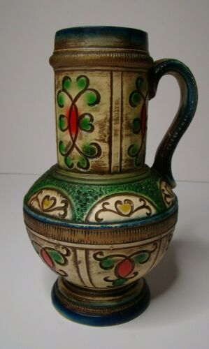 NORLEANS Japanese Engraved Pitcher Pottery Japan Decorative Handle Kitschy Jug