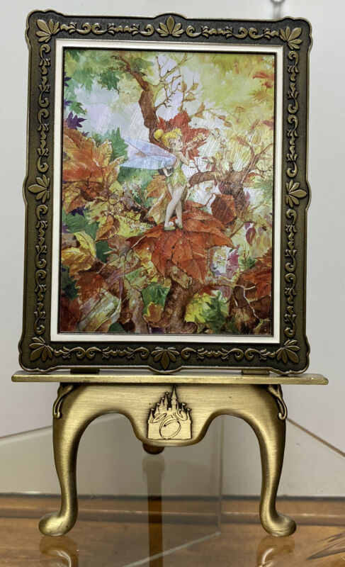 DISNEY PARK TINKERBELL AUTUMN BREEZE LE 276/500 FRAMED ART WITH STAND COA NEW