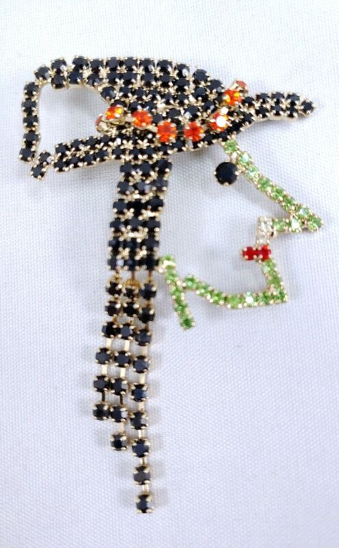 W) vintage Prong SET RHINESTONE WITCH WICKED WEST WIZARD OZ HALLOWEEN PIN BROOCH