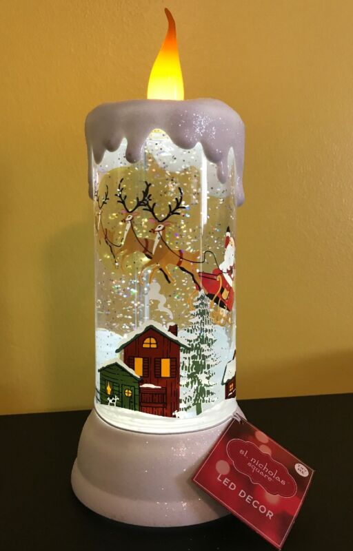 St Nicholas Led Decor Glitter Candle With Moving Christmas Santa And Reindeer