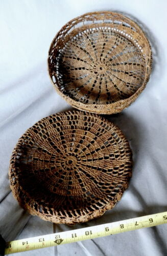 Rare antique sewing Basket Macrame 19th C 1800s Sailor Made Ropework lidded