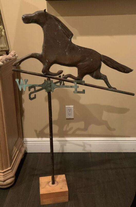 Rare ANTIQUE PATINATED COPPER HORSE WEATHERVANE WITH COMPASS on Stand