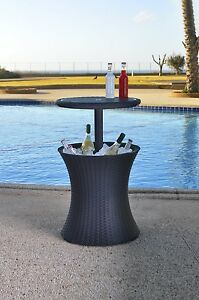 Keter rattan cooler cocktail storage coffee table garden for Outdoor coffee table with cooler