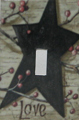 PRIMITIVE COUNTRY BLACK BARN STAR BERRIES STAR LOVE SINGLE TOGGLE SWITCH PLATE - Barn Star