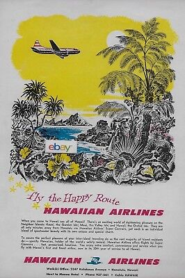 HAWAIIAN AIRLINES 1955 CONVAIR 340 SERVING HAWAII ON THE HAPPY ROUTE AD