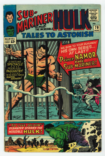 TALES TO ASTONISH #70 4.5 HULK & SUB-MARINER STORY BEGINS OW PGS 1965