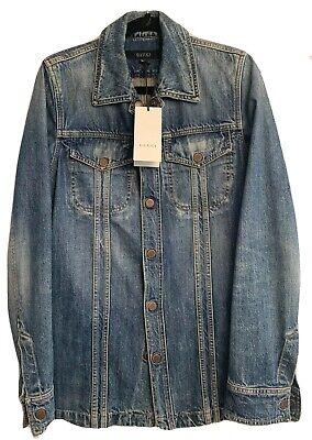 Gucci Men's 6 Button 3 Quarter Length Vintage Style Jean Jacket Size 46 NWT