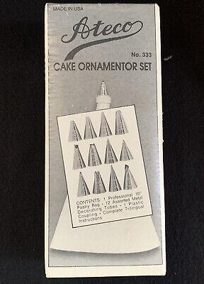 Vintage New In Box Ateco No 333 Cake Decorating Set Pastry Bag 12 Metal Tubes