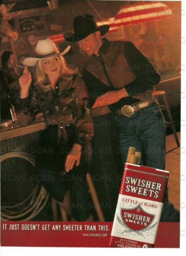 2000 Swisher Sweets Little Cigars Vintage Magazine Ad   Cowboy Couple At Bar
