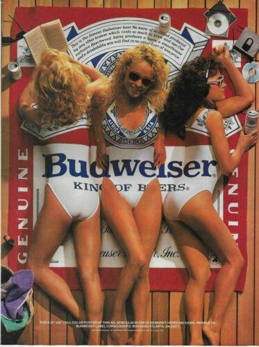 1989 Budweiser Beer Bikini Girls Towel Original Vintage Photo Poster Print Ad