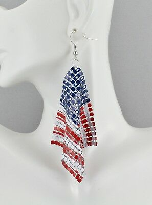 Patriotic earrings Red White Blue USA American Flag earrings 4th July metal - Patriotic Earrings