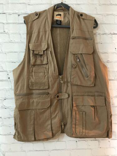 Humvee Mens Khaki Solid Sleeveless Cotton Full Zip Photography Vest Size Large