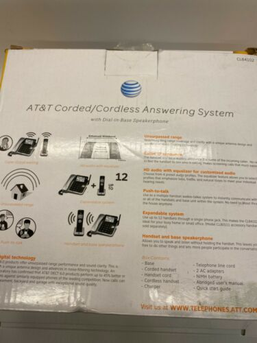 AT&T CL83463 Cordless Phone 3Handset Corded/Cordless Answering System