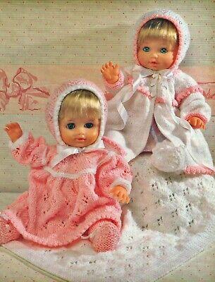 "Knitting Pattern DK Dolls Clothes 12 - 22"" Pram Set & Blanket"
