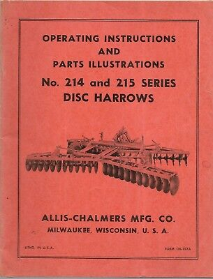 Allis-chalmers Operating Instructions And Repair Parts 214 215 Disc Harrows