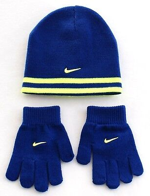Nike Reversible Blue & Volt Knit Beanie & Stretch Gloves Youth Boy's 4-7 NWT