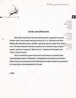 Green Day Reprise Press Release