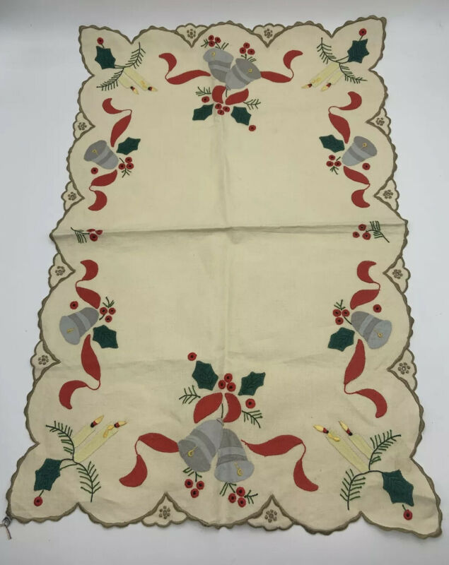 """Vintage Christmas Table Runner Embroidered.Appliqué Linen 15"""" x 22"""""""