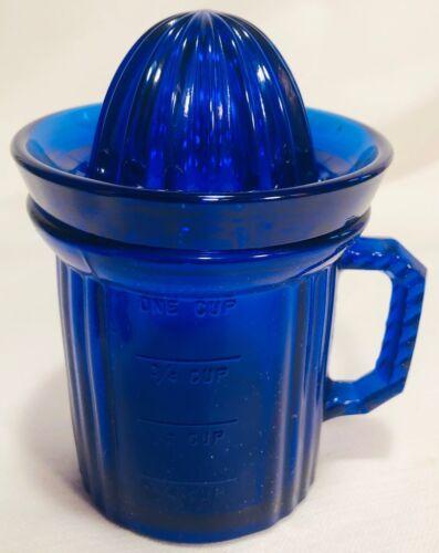 Dry Measuring Cup w/ Lid - Cobalt Blue Glass - USA - 2 Piece