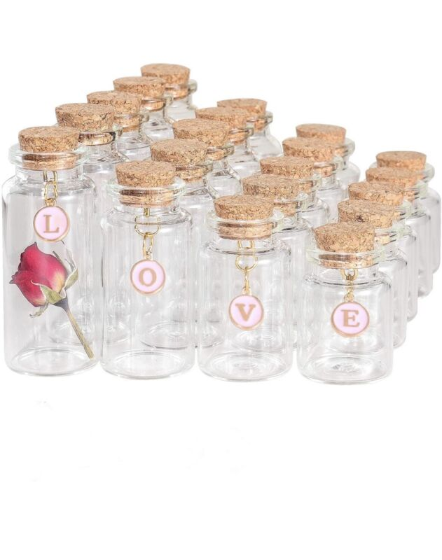 VOFUWS 48PCS Mini Glass Bottles with Corks 24pcs 5ml and 12pcs 10ml and 12pcs...