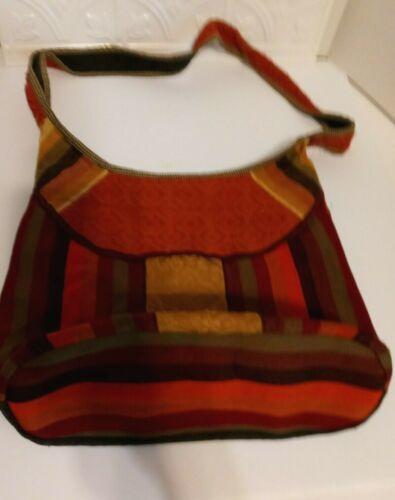 "Vintage Hand Bag/Satchel Colorful ~11"" tall x 13.5 In. Wide w/ Inside Pocket"