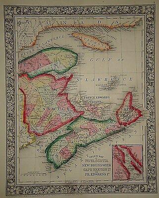 Vintage 1863 CANADIAN MARITIME PROV. MAP ~ Old Antique Original Atlas Map 82917