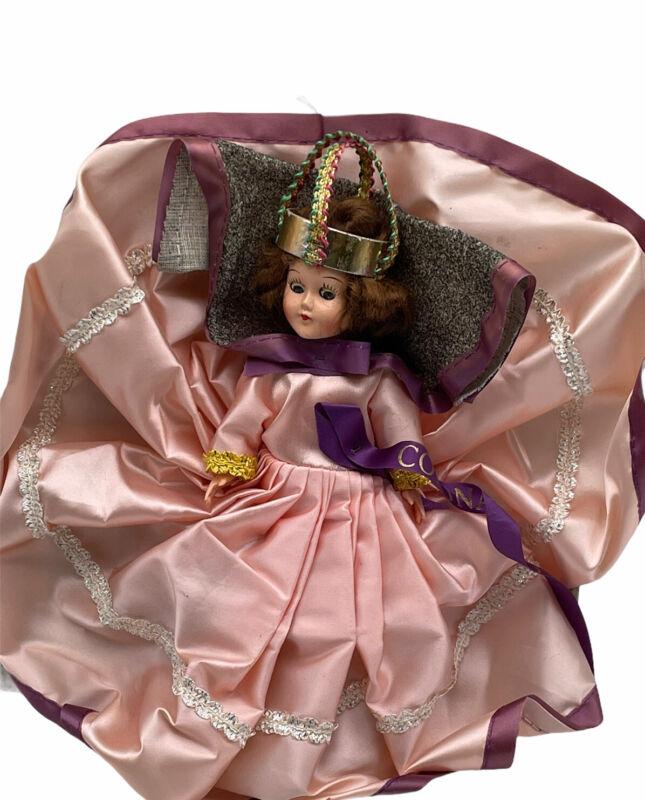 "Vintage Queen Elizabeth II Coronation Doll Folgers Promo Bisque 8"" Pink Gown NOS"