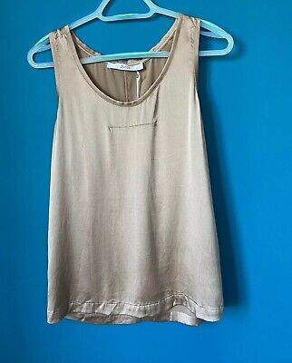 Jucca Rose Gold Silk Tank Top Uk10 Made In Italy