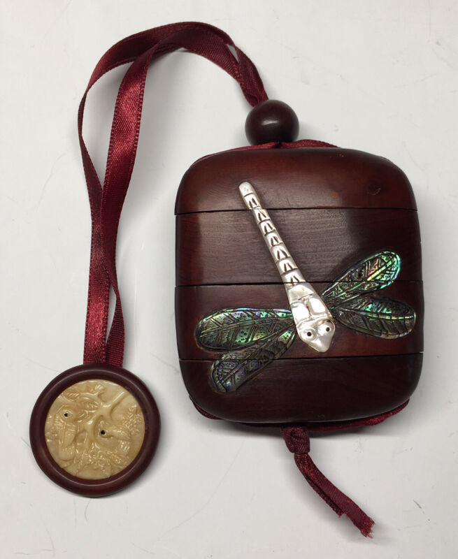 Antique Japanese Signed Inro Dragonfly Inlaid w/ Mother of Pearl & Abalone Meiji