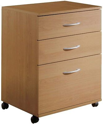 Filing Cabinet 3 Drawer File Office Mobile Storage Home Rolling Maple Finish