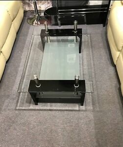 $99 COFFEE TABLE TEMPERED GLASS AND LACKER FINISH BLACK