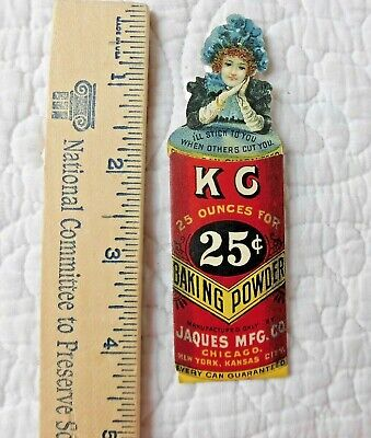 Vintage VICTORIAN Advertising, KC BAKING POWDER 2piece CARD Jaques Mfg co 1900's