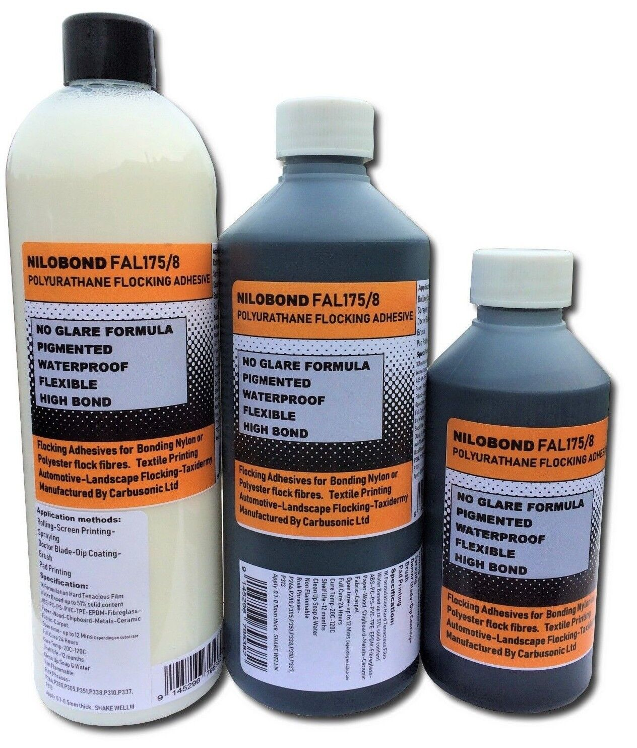 Black Flocking Glue Adhesive Flock Nylon Polyester Flexible Waterproof 1 LT