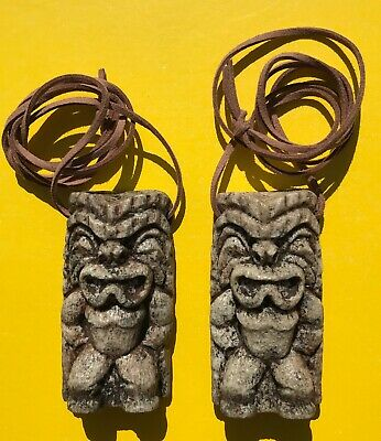 LOT 2 BRADY BUNCH CURSED TIKI IDOL NECKLACE GREG PETER BOBBY TV PROP 70's HAWAII