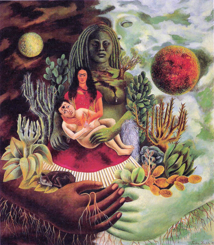 Frida Kahlo The Love Embrace The Earth Environment Climate Real Canvas Print