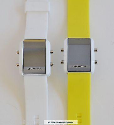 New Weida Silicone Band Led Digital White Case Mirror Dial Watch Xl 446L