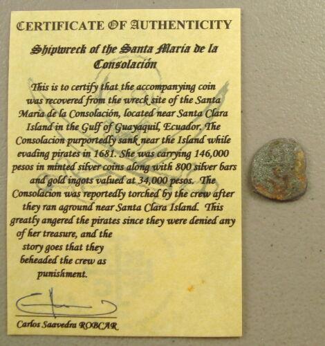 1681 Consolacion Shipwreck Recovered Potosi Silver Cob 1 Real, ROBCAR Cert.