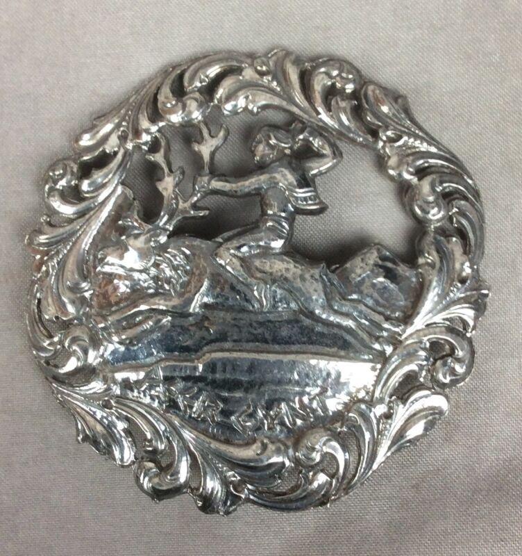 Vintage Norwegian Peer Gynt Brooch Pin - Norsk Tinn Norway Silver Pewter