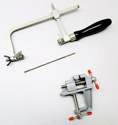 Jewelers Saw Frame & 12 Blades & Mini Bench Vise with Clamp Jewelry Making Tools