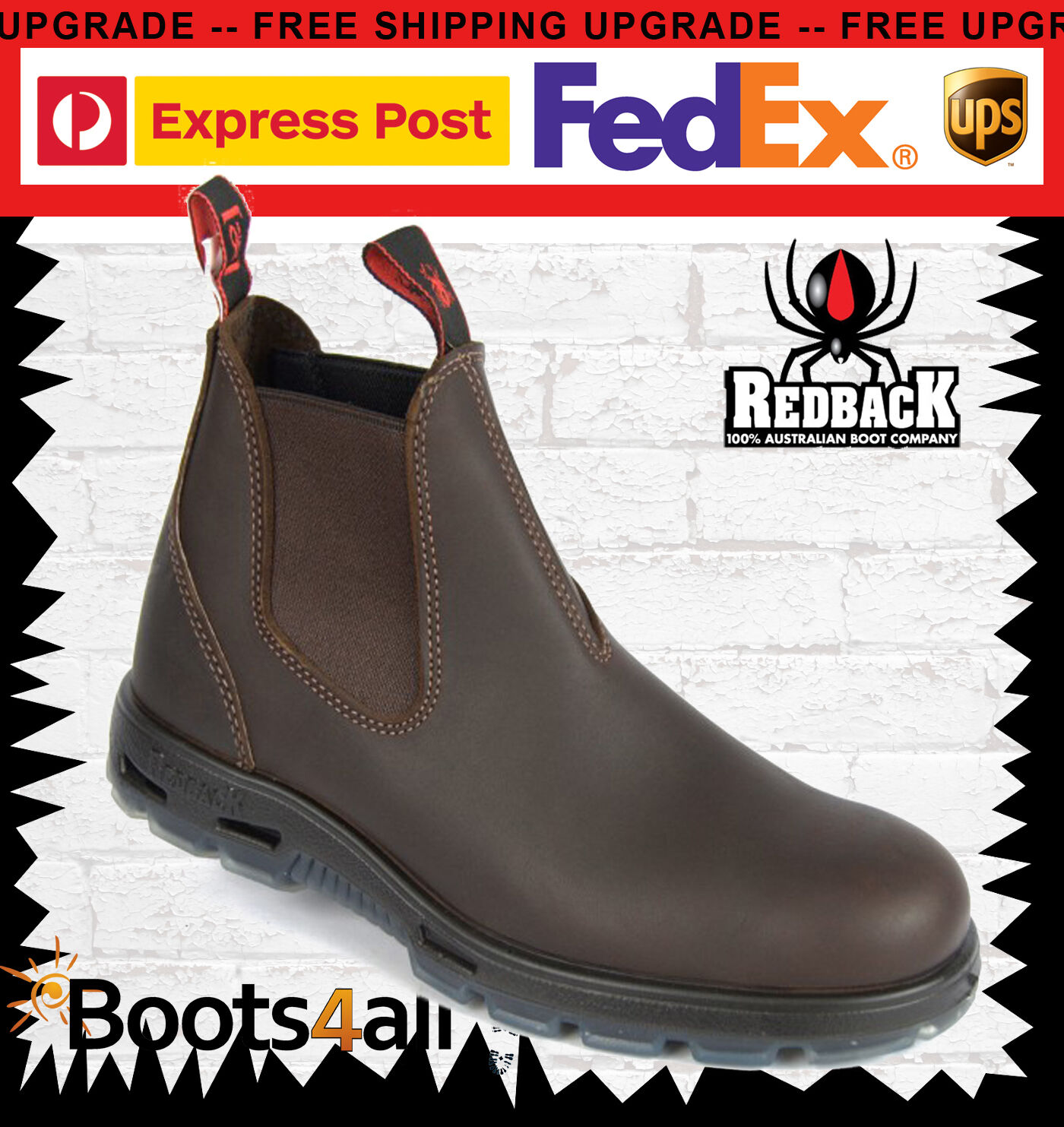 New Redback Work Boots UNPU Great Barrier Water Resistant Nevada Puma Brown