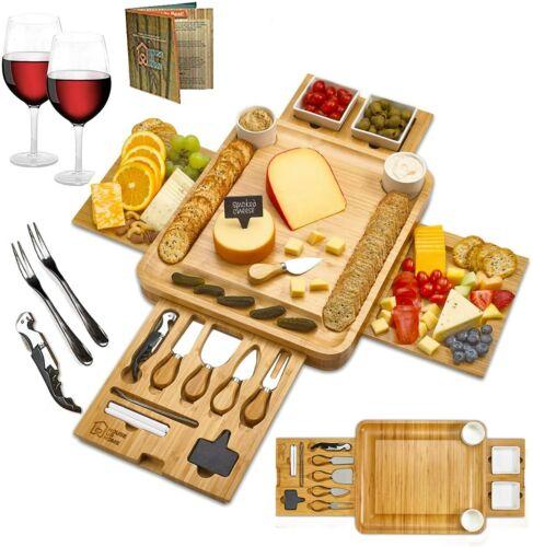 Bamboo Cheese Board Set Summer Entertaining Wedding Housewarming Beautiful Gift