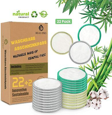Pack of 22 Reusable Cotton Pads Washable Bamboo Eco Friendly Make Up Remover Bag