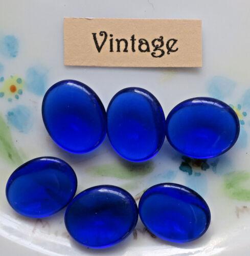 Vintage Glass Cabochons Blue Sapphire Capri 12/10mm Ovals Kittay Germany #1043F
