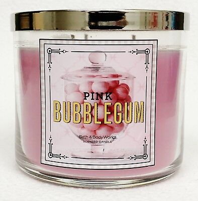 1 Bath Body Works PINK BUBBLEGUM Large 3-Wick Scented Candle 14.5 oz](Pink Bubblegum)