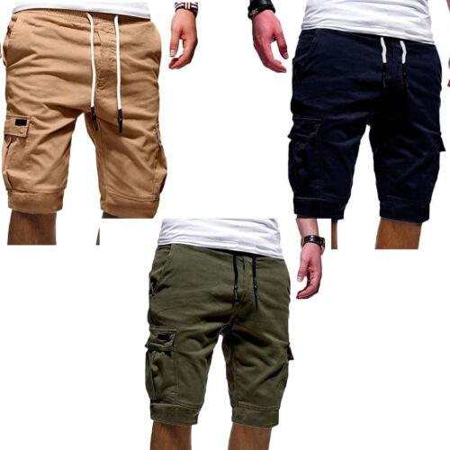 Men Fashion Casual Chino Cargo Shorts  Multi Pockets Pants Summer Beach Trousers