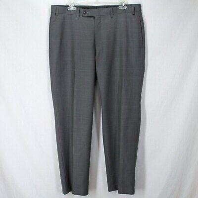 Calvin Klein Dress Pants Mens Sz 36 x 30 Gray Grid Pattern Flat Front Pockets Grey Polyester Mens Dress Pants